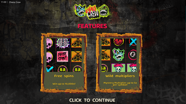 chaos crew slot introduction screen